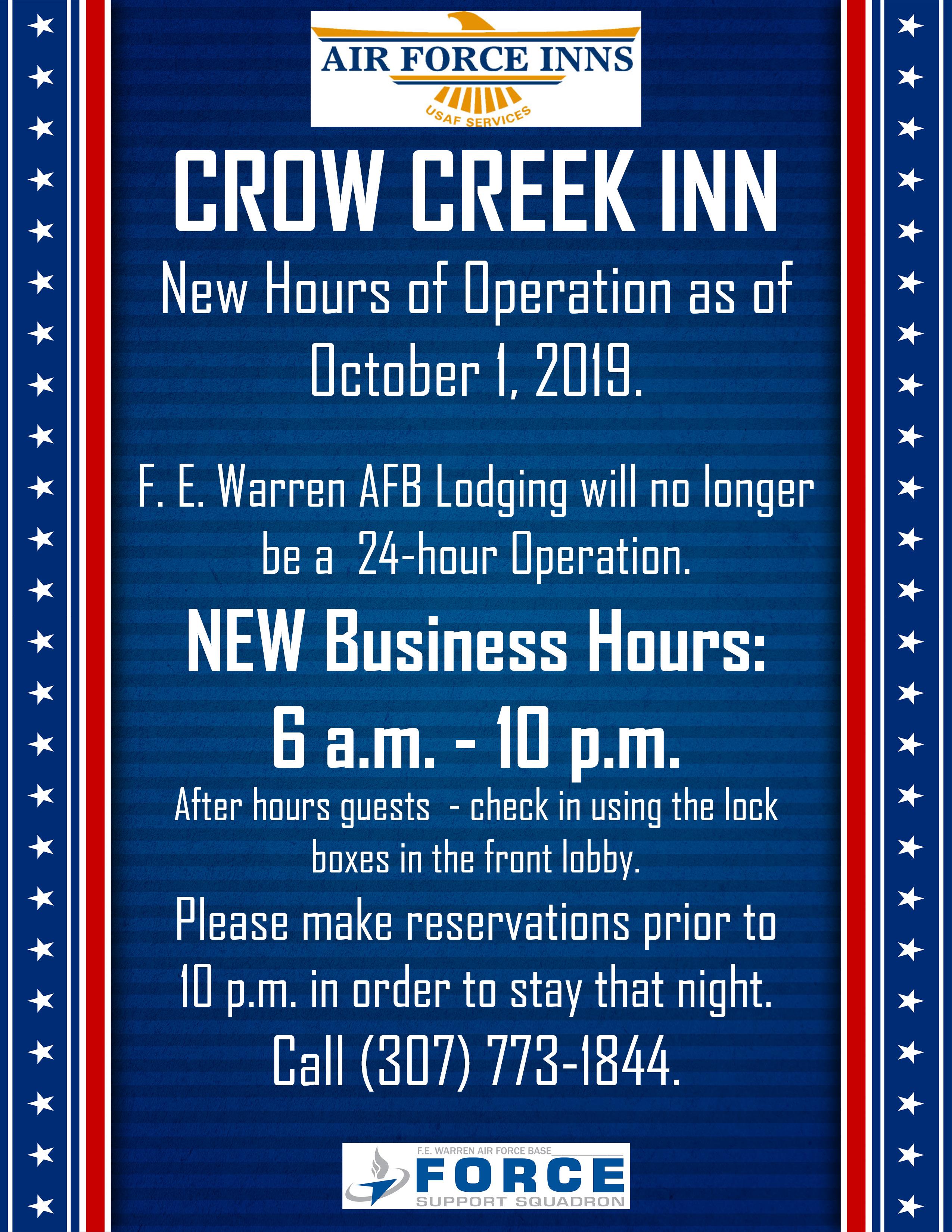 , NEW Crow Creek Inn Hours